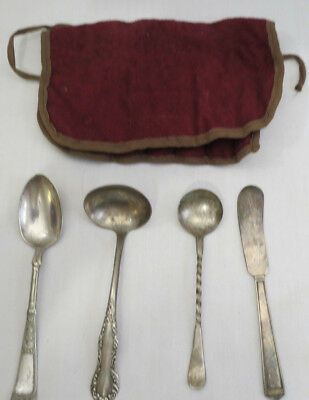 4 misc pc 1800s SILVERPLATE FLATWARE butter spreader sauce ladle condiment spoon