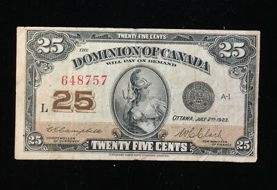 1923 Dominion of Canada Twenty Five Cents Note