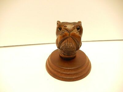 Vintage Hand Carved Wood Bull/boxer?  Dog Paper Weight Glass Eyes Folk Art
