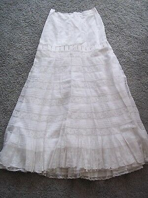 Antique Ladies Net Floral Embroidered Under-Skirt Ruffled Petticoat Ivory EC