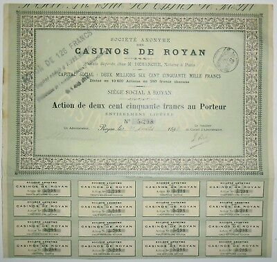 Postal-Sociedad Casinos de Royan Action de 250 Frs 1898 Raro