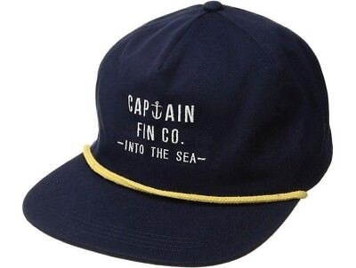 b8108013927 Captain Fin ON DECK Mens 100% Cotton Adjustable Snapback Hat Navy NEW 2018