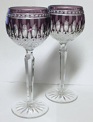 "Pair of Waterford Crystal ""Clarendon"" Pattern Amethyst Wine Hocks, Signed"