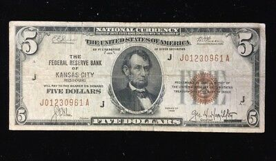 Series of 1929 $5 National Bank Note of Kansas City