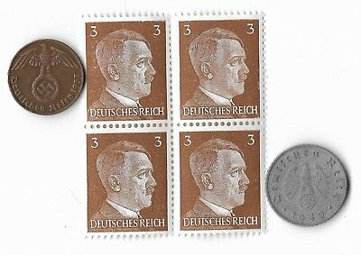 Rare Very Old WWII WW2 Nazi Germany Coin Hitler Stamp German War Collection Set