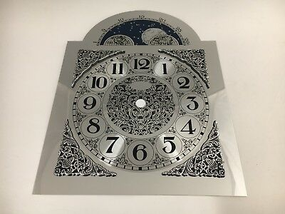Clock Dial Metal Arabic Numerals Moon Arch Silver Finish