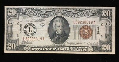 Series of 1934 A Federal Reserve $20 Hawaii Note