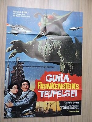 """Godzilla The X From Outer Space Original Film Poster 1972 33"""" x 23"""" German text"""