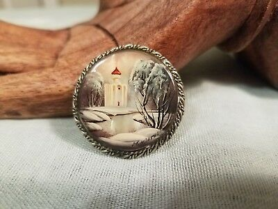 Vintage Signed Russian Hand Painted Winter Scene Church Mother of Pearl Brooch