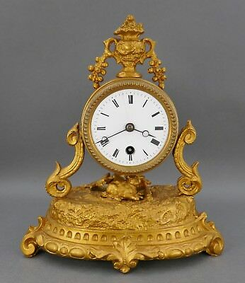 Antique French Gold Recumbent Hare Rabbit Urn Top Table Mantle Clock