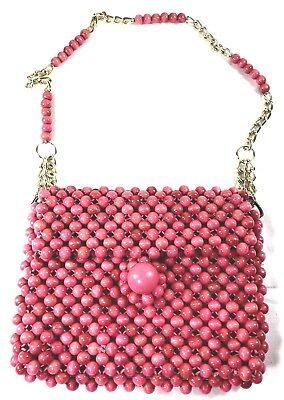 Vintage 50s 60s Pink Wooden Ball Beaded Purse Made in Japan Beaded Gold Chain