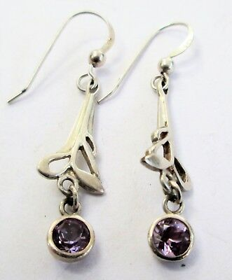 Pair good quality vintage sterling silver & amethyst pendant earrings