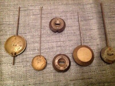 Collection Of 6 Antique Clock Pendulums Bobs Ex Clockmakers Spare Parts Chest