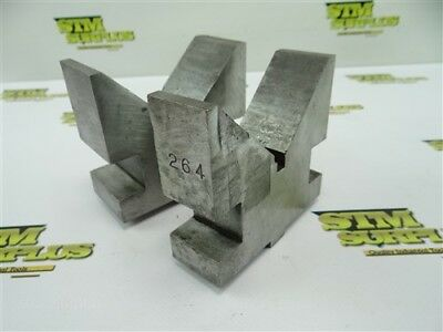 "Pair Of Precision 3-5/8"" Steel V Blocks W/ 5/8"" T Bases"