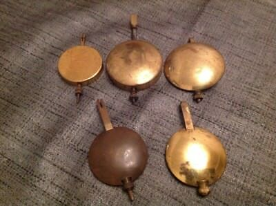 Collection Of 5 Antique Clock Pendulums Bobs Ex Clockmakers Spare Parts Chest