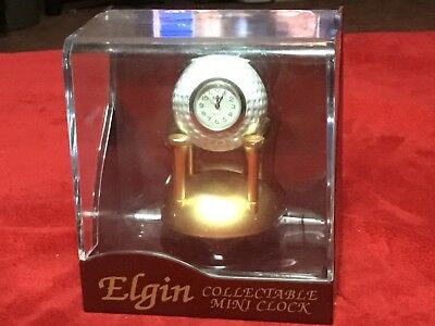 Vintage Collectible Elgin Mini Golf Ball on Tee Clock NEW in Display Case