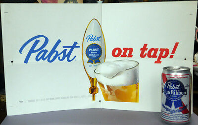 1950s Pabst Blue Ribbon Beer ON TAP Point-of-Sale Poster  Milwaukee WI
