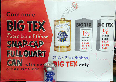 1956 Pabst Blue Ribbon Beer BIG-TEX Snap-Cap Quart Point-of-Sale Poster Milw WI