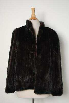 Vintage Black Brown Mink Fur Jacket Length Coat Sz Small/Medium