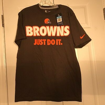 a37d3c22934 NEW Nike Mens Medium CLEVELAND BROWNS T-SHIRT JUST DO IT M Football Brown  Swoosh