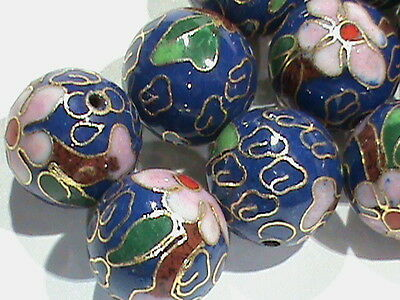 High Quality Vintage BIG  14 MM Cloisonne Beads Round BLUE w/ Flowers 14 Pcs!