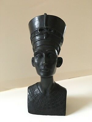 Vintage Egyptian Queen Nefertiti Bust Statue Black