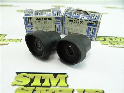 New! Pair Of Nikon 20X Microscope Eyepieces W/ Rubber Eyeshields Mmk20200