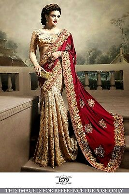 Saree Bollywood Indian Designer Sari Pakistani Silk Traditional Wedding Saree