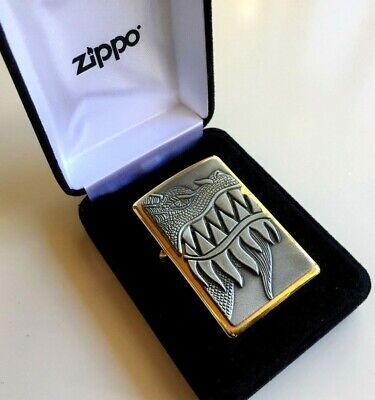 24k Gold Plated Genuine Zippo Lighter FLAMING DRAGON 28969 Gift 24ct USA Made