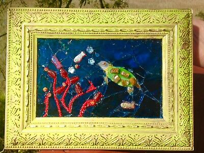 Stained Glass Window Nautical Sea Turtle Red Coral Fish Coastal Art Unique OOAK