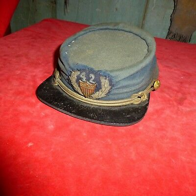 RARE CIVIL WAR ERA BLUE WOOL KEPI WITH GILD WIRE INSIGNIA FOR 42nd  REGIMENT