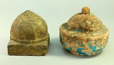 ! Lot of 2 Antique Architectural Ornaments Finials Carved Stone & Glazed Ceramic