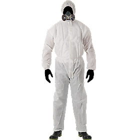 Paint Overalls Nylon White With Hood 1 Piece Size Small (Hnos)