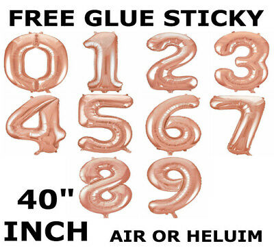 "40"" Giant Foil Number Rose Gold Helium Large Balloons Birthday Party Wedding 40"