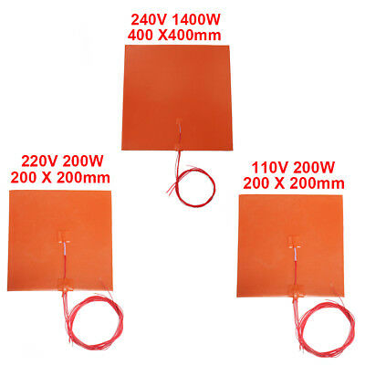 200 x 200 400 x 400mm Heated Bed Heater Pad Silicone Heating Mat For 3D Printer