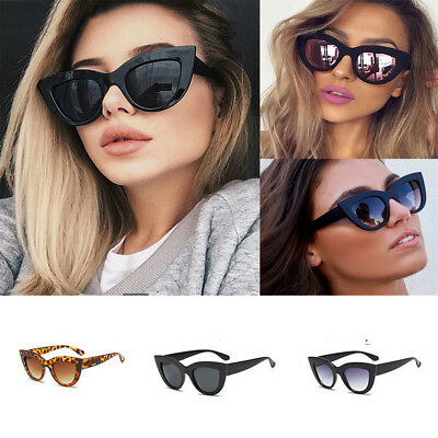 Luxury Ladies Womens Oversized Cat Eye Sunglasses Vintage Style Retro Shades HE