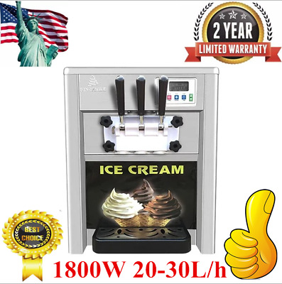Commercial 1800W 20-30L/h 3Flavor Soft Ice Cream Maker Frozen Ice Making Machine