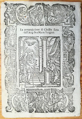 Post Incunable Leaf Rosario Woodcut Annunciatione a Maria... Venice - 1521#