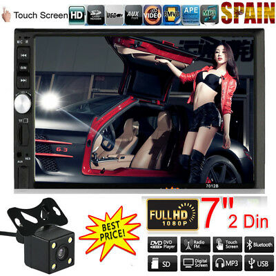 "7"" 2 Din Coche MP5 Reproductor 1080P Táctil Bluetooth Radio USB TF AUX + Cámara"