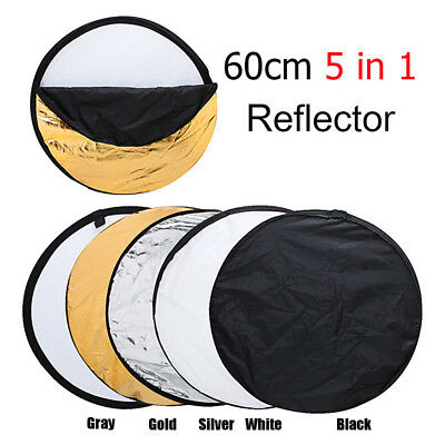 """5 in 1 Photography Photo Reflector 24"""" Light Collapsible Portable Reflector UK"""
