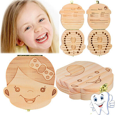 Kids Boy&Girl Tooth Box organizer for baby Save Milk teeth Wood Storage Box Gift