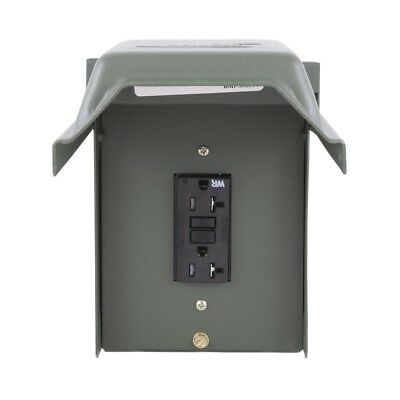 20-Amp Exterior GFCI Outlet Weather-Resistant Garden Outdoor Compact Receptacle