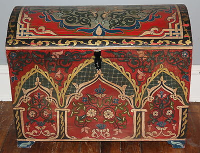 Large Folk Art Hand Painted Decorated Peasant Trunk