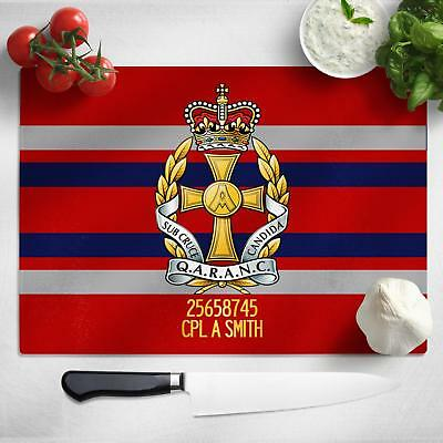 Personalised Queen Alexandra's Nursing Corps Glass Chopping Cutting Board MT17