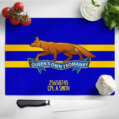 Personalised Queen's Own Yeomanry Glass Chopping Cutting Board Worktop MT20