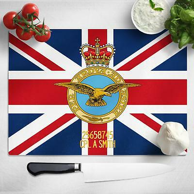 Personalised Royal Air Force Crest Glass Chopping Cutting Board Worktop MCB27