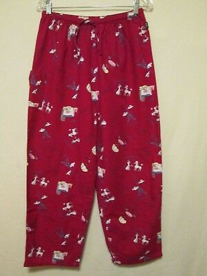 MIXIT Women's FRENCH POODLE Dog & Paris Scene Red Flannel Lounge Pants size M