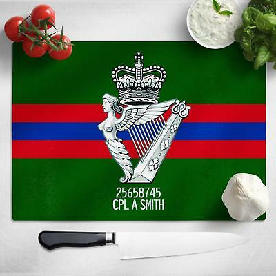 Personalised Irish Regiment Glass Chopping Cutting Board Worktop Saver MT42