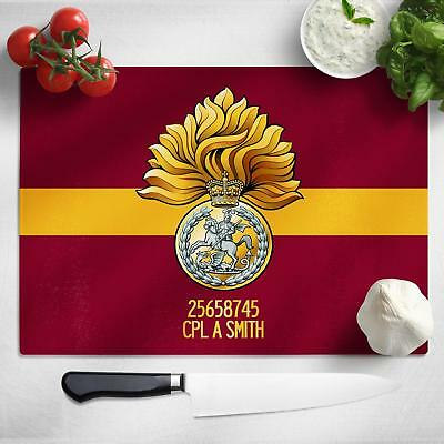 Personalised Reg of Fusiliers Glass Chopping Cutting Board Worktop Saver MT51