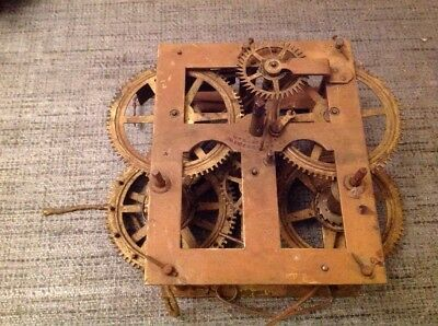 Antique Clock Movement Weight Driven Gilbert USA Untested Repair Or Spare Parts